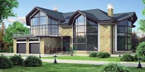 Проект дома с большими окнами №1