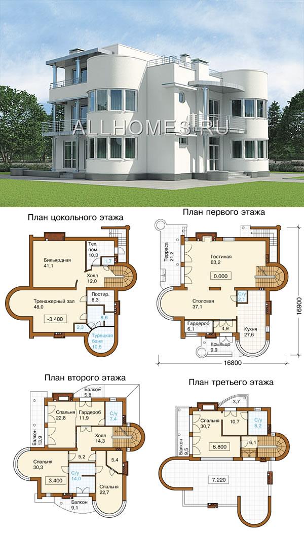 Проект большого кирпичного дома в стиле хай-тек