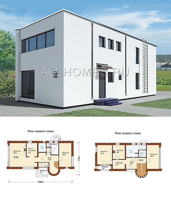 Простой и лаконичный проект дома в стиле хай-тек