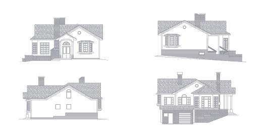 Дом из газобетона на склоне, виды фасадов