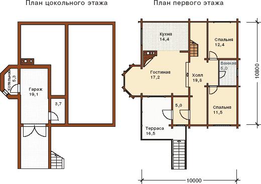 Планировка этажей к проекту дома из бруса на склоне