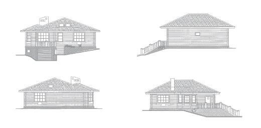 Виды фасада к проекту дома из бруса на склоне