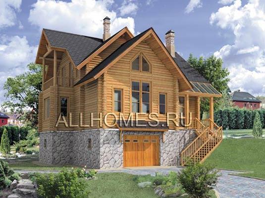 Проект дома из оцилиндрованного бревна на склоне