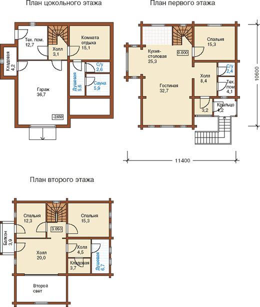 Планировки этажей к проекту дома из оцилиндрованного бревна на склоне
