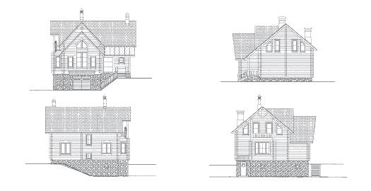 Виды фасадов к проекту дома из оцилиндрованного бревна на склоне