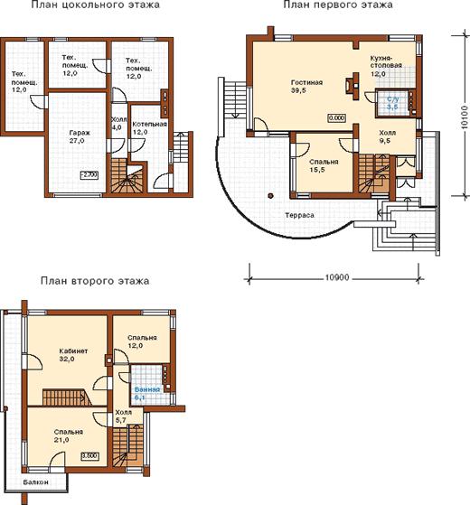 Планы этажей к проекту современного дома на склоне