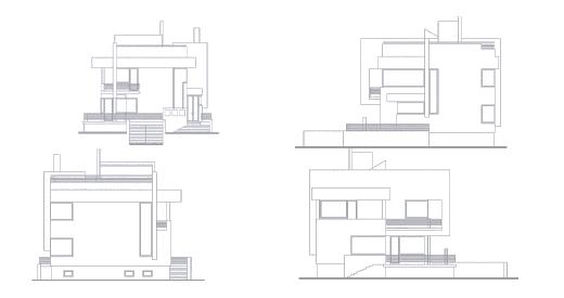 Планы фасадов к проекту современного дома на склоне
