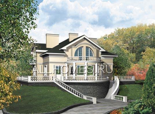 Проект дома на склоне в дворцовом стиле