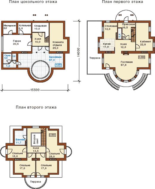 Поэтажная планировка дома в дворцовом стиле