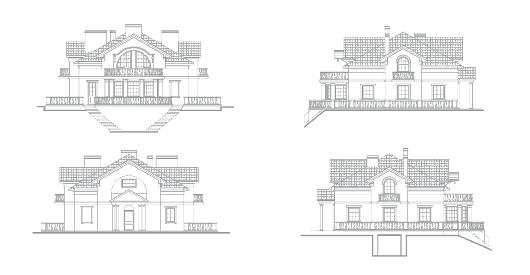 Планы фасадов к проекту дома в дворцовом стиле