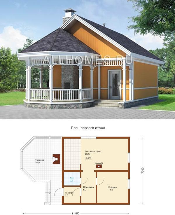 Проект одноэтажного каркасного дома с