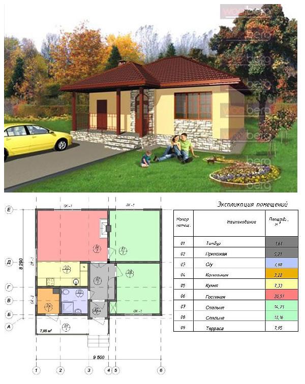 Проект небольшого дома из сендвич-панелей «Сакура»