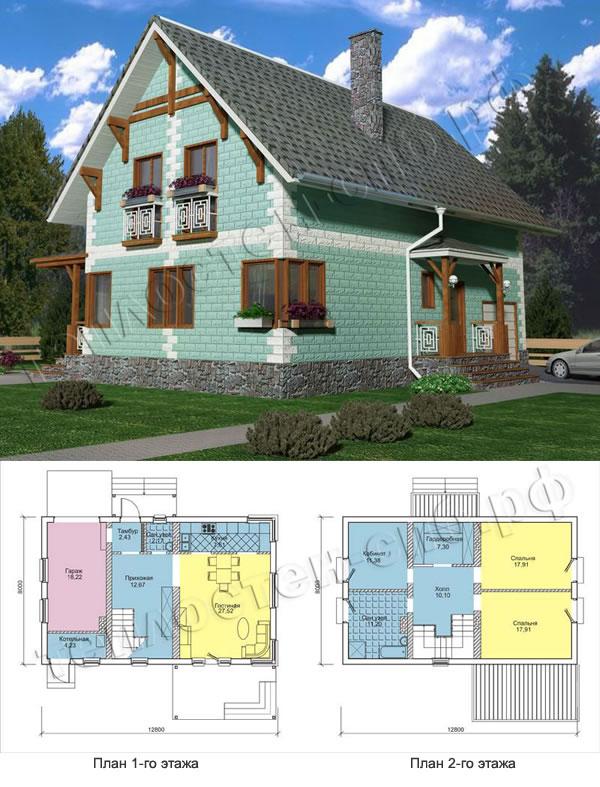Проект двухэтажного дома из теплоблоков