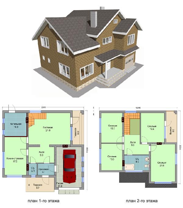 Проект 3. Двухуровневый теплоблочный дом с гаражом