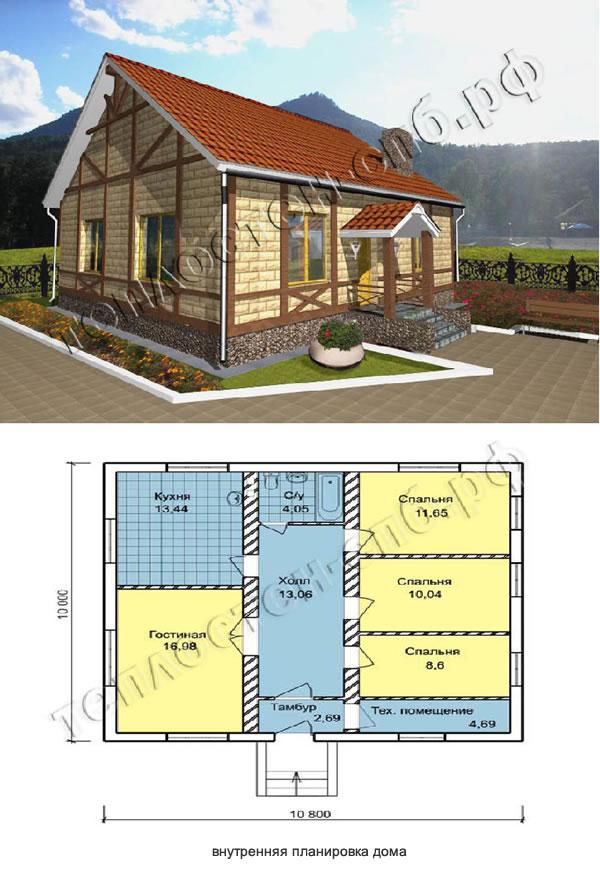 Проект экономичного дома из теплоблоков