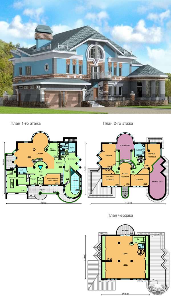 Проект большого дома с зимним садом