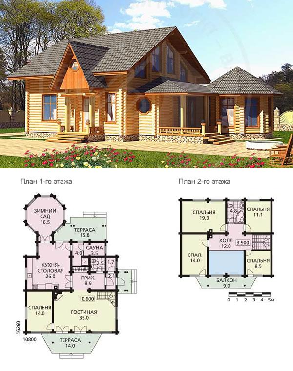 Проект бревенчатого дома с зимним садом