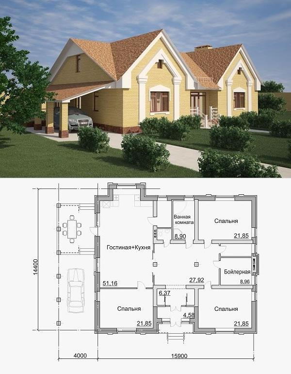 Проект просторного одноэтажного дома с навесом и верандой