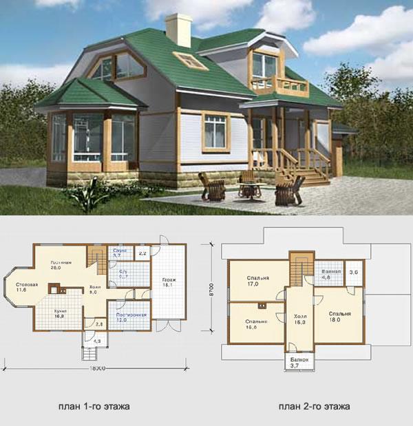 Проект финского дома на 2 этажа с пристройкой гаража на одну машину