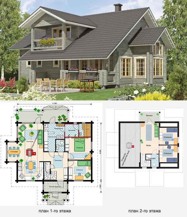 Проект бревенчатого финского дома на два этажа