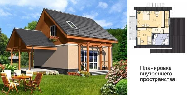 Проект дома для маленького участка 20х20 м