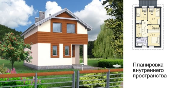 Проект дома для узкого маленького участка 18.2 × 12.4 м