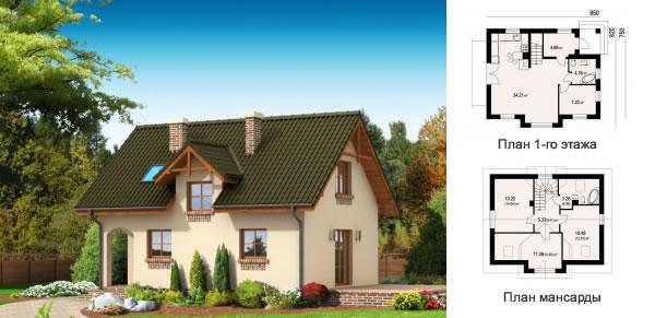 Проект недорогого дома на 92 кв. м для маленького участка