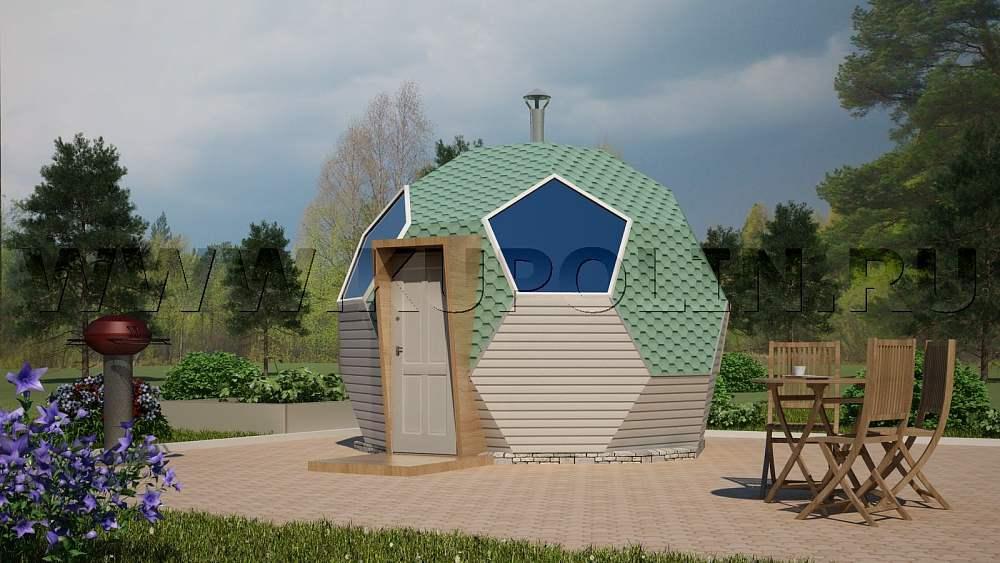 Проект купольной бани. Вид спереди