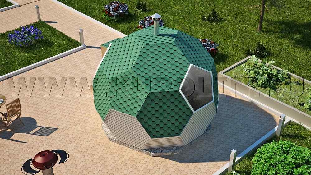 Проект купольной бани. Вид сверху