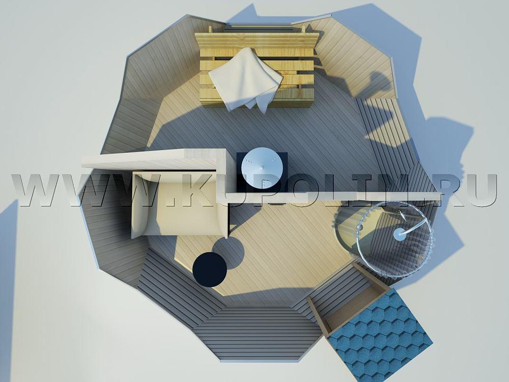 Проект интерьера купольной бани