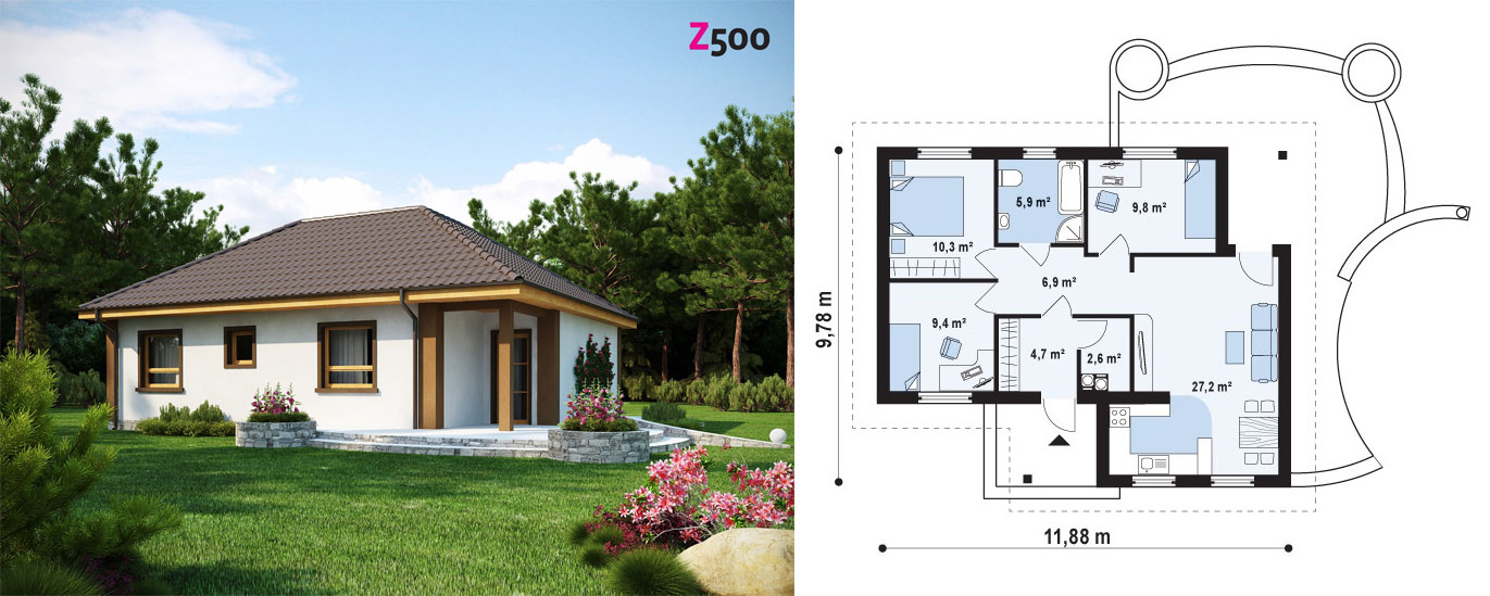 Проект одноэтажного дома из газоблоков